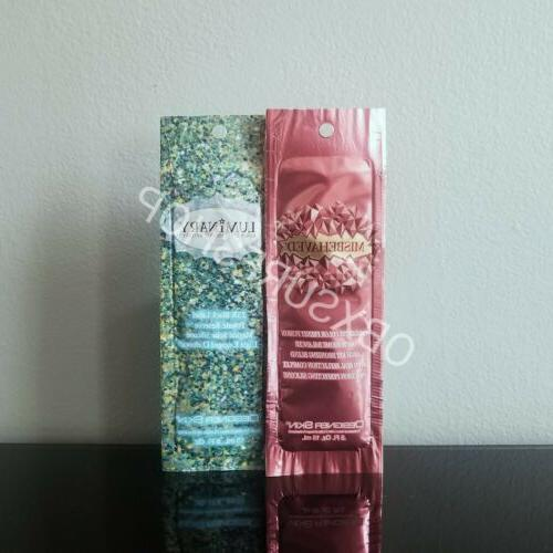 misbehaved tanning lotion sample packet and luminary