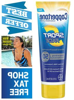 Coppertone Sport Face Sunscreen Mineral Based Lotion PABA an